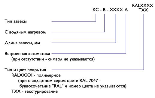 Система обозначений завес Классик-В