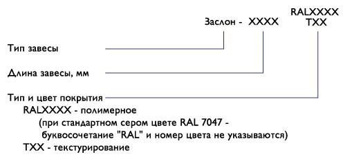 Система обозначений завес Заслон